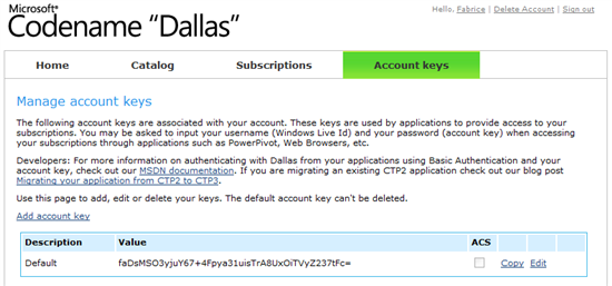 Dallas Account Keys
